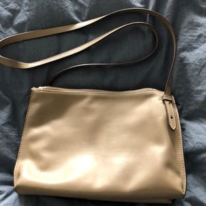Italian Leather Double Zip Pouch Crossbody